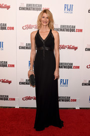 Laura Dern was edgy-glam in a leather-trimmed black gown during the American Cinematheque Award.