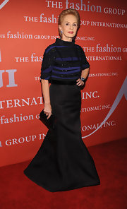 Carolina Herrera paired a long black skirt with a beaded top for a classy finish at the Fashion Group International Night of Stars.