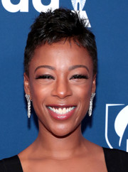 Samira Wiley's dangling diamond earrings made a glam contrast to her edgy haircut.
