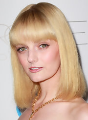 Lydia Hearst's pretty flaxen hair looked lovely with eye-enhancing brow-length bangs at the 2nd Annual Autumn Party.