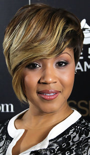 Mary Mary rocked a blond highlighted short straight cut at the Black Women in Music event.