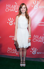 Ahna O'Reilly chose a white lace frock for her fun and flirty look at the Hilarity for Charity Event in Hollywood.