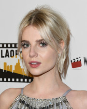 Lucy Boynton attended the Los Angeles Online Film Critics Society Awards wearing a disheveled updo.