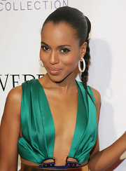 Kerry Washington paired her sleek braided ponytail with decadent diamond hoops.