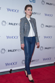 Sami Gayle teamed blue leather skinnies with her jacket for a totally edgy look.