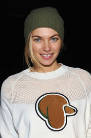 Jessica Hart was edgy-cool in her green knit beanie during the 3.1 Phillip Lim fashion show.