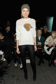 Jessica Hart attended the 3.1 Phillip Lim fashion show looking cute in the brand's dog-print sweater.