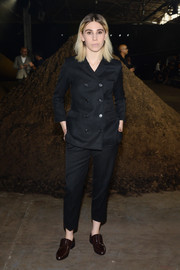 Zosia Mamet went androgynous in a double-breasted pantsuit during the 3.1 Phillip Lim fashion show.