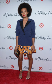 Solange Knowles teamed a print mini skirt with a blazer for her red carpet look during the 3.1 Phillip Lim for Target launch.