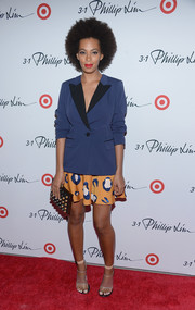 Solange Knowles paired a blue blazer with a print mini skirt for the 3.1 Phillip Lim for Target launch event.