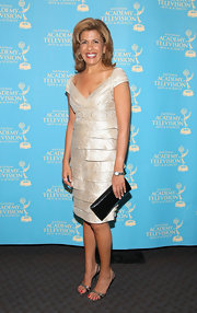 Hoda Kotb looked gorgeous in a nude colored off-the-shoulder dress at the News and Documentary Emmy Awards.