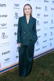 Olivia Wilde rocked an oversized green pantsuit by Erdem at Variety's Creative Impact Awards.