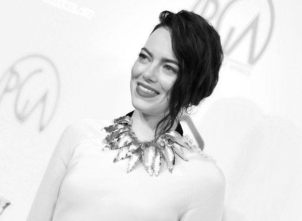More Pics of Emma Stone Messy Updo (1 of 8) - Emma Stone Lookbook - StyleBistro [image,white,hair,photograph,black-and-white,facial expression,beauty,eyebrow,monochrome photography,hairstyle,lady,arrivals,emma stone,editors note,beverly hills,california,the beverly hilton hotel,annual producers guild awards]