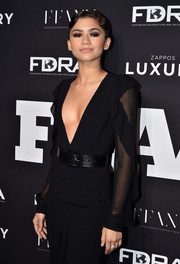 Zendaya Coleman paired her LBD with an oversized black belt for the FN Achievement Awards.