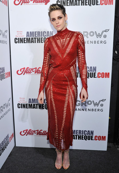 Kristen Stewart was a knockout in a red open-weave midi dress by Julien Macdonald at the American Cinematheque Award.