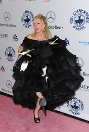 They weren't visible underneath all that fabric, but Kathy Hilton was wearing a chic pair of black peep-toes at the Carousel of Hope gala.