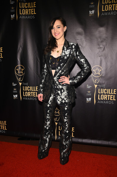 Lena Hall shimmered in a metallic floral pantsuit at the Lucille Lortel Awards.