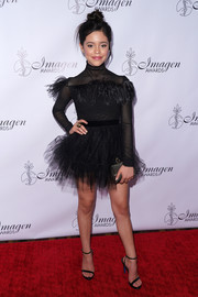 Jenna Ortega channeled the 'Black Swan' in this feather-adorned tutu dress at the Imagen Awards.