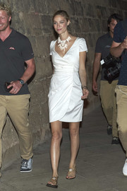 Beatrice Borromeo paired her frock with embellished thong sandals