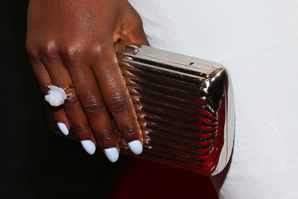 More Pics of Lupita Nyong'o Hard Case Clutch (1 of 13) - Clutches Lookbook - StyleBistro [red carpet,nail,nail care,nail polish,red,manicure,hand,finger,cosmetics,accordion,material property,lupita nyongo,clutch detail,ring,century city,california,intercontinental hotel,los angeles film critics association awards]