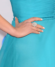 Rachael Leigh's pearly white manicure popped against the backdrop of her teal dress at the 2013 People's Choice Awards.