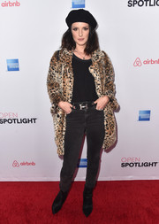 Shenae Grimes punched up her casual look with an animal-print fur coat.