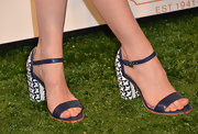 January Jones chose these blue-and-white evening sandals to complement her blue floral frock.