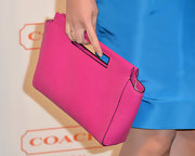 Sophia Bush chose a hot pink leather handbag for an extra pop of color on the red carpet.