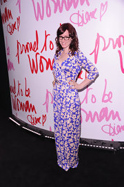 Ingrid Michaelson wore this floor print floral maxi-dress to the Diane Von Furstenberg Awards.