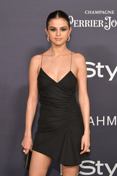 More Pics of Selena Gomez Strappy Sandals (3 of 11) - Heels Lookbook - StyleBistro [fashion model,clothing,dress,cocktail dress,shoulder,little black dress,hairstyle,fashion,model,leg,arrivals,selena gomez,the getty center,los angeles,california,3rd annual instyle awards]