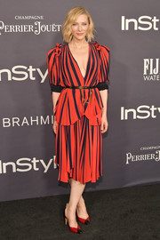 Cate Blanchett was '40s-chic in this red and black striped blouse by Givenchy at the 2017 InStyle Awards.