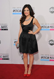 Lucy Hale was the epitome of retro glamour in a satin scoop-neck tank dress at the 2012 American Music Awards.