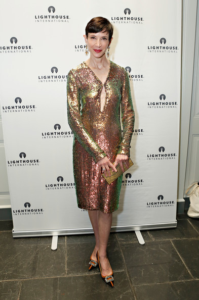 Amy Fine Collins chose a super sparkly sequined dress to wear to 'A Posh Affair' gala in NYC.