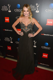 Taylor Armstrong chose a deep brown flowing dress with a sequined bodice for the Daytime Emmy Awards.