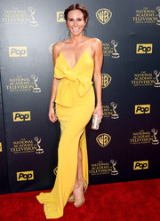 For her Daytime Emmys look, Keltie Knight went for flirty sophistication in a low-cut yellow Alex Perry gown with a huge bow on the bodice.