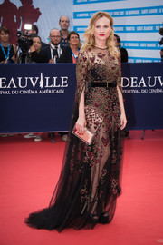 Diane Kruger hovered between sweet and sultry in this sheer, heart-embellished gown by Elie Saab Couture at the Deauville American Film Festival opening ceremony.