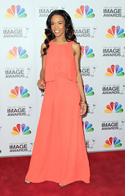 Michelle Williams wore this draped peach gown to the NAACP Image Awards.