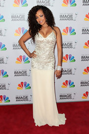 Jennia Fredrique wore this beaded ivory gown to the NAACP Image Awards.