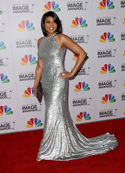 Taraji P. Henson brought the va-va-voom in this liquid silver gown at the NAACP Image Awards.