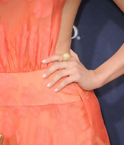 Julianne Hough paired her coral gown with a gold cocktail ring at the Academy of Country Music Awards.