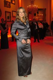 Barbara Schoeneberger stepped out at the 46th Golden Camera Awards wearing a long-sleeved floor-length satin gown.