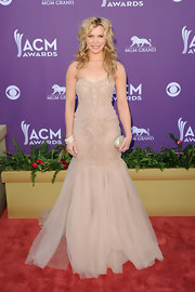 Kimberly Perry opted for a demure look at the Academy of Country Music Awards in this nude tulle gown.