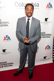 Anthony Mackie opted for a classic gray suit for the Chicago International Film Festival.