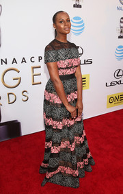 Tika Sumpter kept it ladylike at the NAACP Image Awards in an Elie Saab gown rendered in mixed lace stripes.