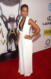 Kerry Washington oozed modern glamour in a low-cut white gown by Victoria Beckham at the NAACP Image Awards.