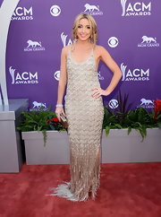 Ashley Monroe channeled the '20s with this silver beaded gown, featuring a fringed skirt.