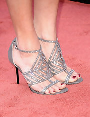 Cassadee Pope was sparkly from her head to her toes with this silver strappy sandal, featuring crystal embellishments.