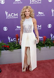 Kimberly Perry chose this white fishtail frock with a sequin-embellished bodice for her look at the 2013 ACMs.