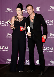 Shawna Thompson rocked this black crepe jumpsuit, which featured a sheer lace neckline, at the 2013 ACM Awards.