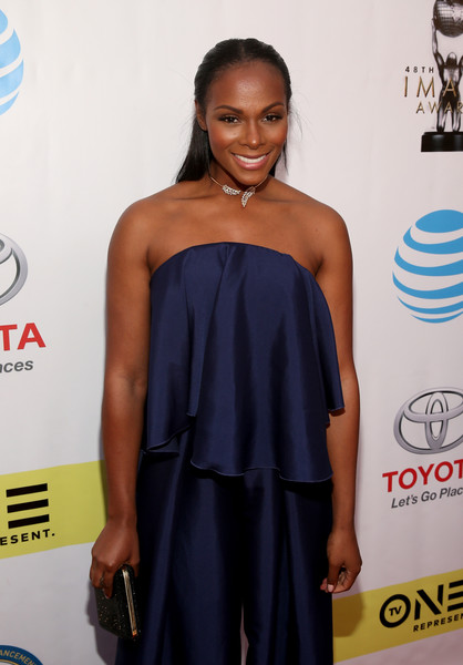 More Pics of Tika Sumpter Half Up Half Down (1 of 6) - Tika Sumpter Lookbook - StyleBistro [red carpet,clothing,dress,shoulder,strapless dress,red carpet,fashion,carpet,joint,electric blue,cocktail dress,tika sumpter,naacp image awards,pasadena civic auditorium,california]